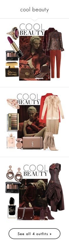 """""""cool beauty"""" by sofiacalo ❤ liked on Polyvore featuring Meteo by Yves Salomon, Golden Goose, Vanessa Bruno, Pierre Hardy, Gucci, Guerlain, Dolce&Gabbana, Lancôme, Alexander McQueen and Balmain"""