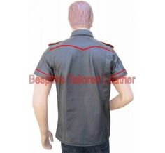 This is #military_style_black_leather_shirt with Choose Your Piping Color with two front pockets. This product is made from the finest quality sheep napa leather. The item will arrive to the buyer brand new with tags from our design and production facility. Most of our items can however be made in different colours and sizes.