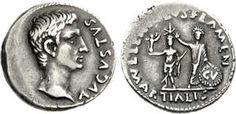 a) denarius of Lucius Lentulus b) 12bce c) silver d) Rome e) shows Octavian as Augustus; also Aug. placing star on memorial statue of JC to show his divus status in 27bce; shield is the clipeus virtutis, given by the SPQR to O. for his civic virtues in 27bce
