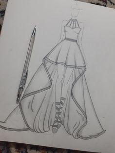 Dress Design Drawing, Dress Design Sketches, Fashion Design Sketchbook, Fashion Design Drawings, Fashion Sketches, Dress Drawing Easy, Fashion Drawing Tutorial, Fashion Figure Drawing, Fashion Drawing Dresses