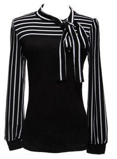 Plus Size Hot Sale OL Women Blouse Shirt Spring Fashion Black White Stripe Bowknot Tops Long Sleeve Blusas Femininas Bluse Outfit, Work Fashion, Fashion Tips, Style Fashion, Fashion Black, Spring Fashion, Fashion Usa, Fashion Online, Model Street Style