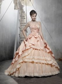 Cheap Beautiful Ball Gown Sweetheart Neck Floor-length Taffeta Champagne Quinceanera Dresses