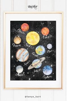 Watercolor Planet Planets Names Nursery Print Solar System Print Watercolor Galaxy Watercolor P - Eleanor Baby Name - Ideas of Eleanor Baby Name - Watercolor Planet Planets Names Nursery Print Solar System Space Solar System, Solar System Crafts, Watercolor Galaxy, Galaxy Painting, Space Watercolor, Watercolor Painting, Baby Room Themes, Baby Room Colors, Baby Design