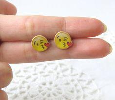 emoji earrings  kissy face emoji earrings  emoji by CleopatraCandy
