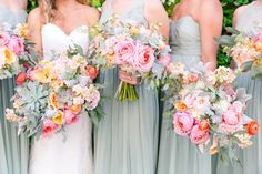 Garden Roses, Parrot Tulips, Ranunculus, Blushing Bride Protea, Dusty Miller, Stock, and Seeded Eucalyptus with Mint/Sage Bridesmaid Dresses | Pastel Mint, Coral, Blush + Gold Patriots Point Pavilion Wedding by Charleston wedding photographer Dana Cubbage Weddings