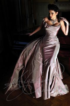 The Opera gown by couture bridal designer Angelina Colarusso. Flattering draped silk over an integral corset makes this the perfect wedding dress for the mature bride. Detachable train allows you to mix up your bridal look throughout the day -wedding dresses for older bride - second time wedding dress - mature bride wedding dress
