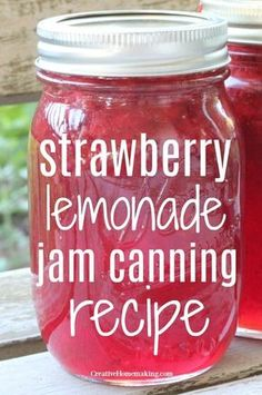 Easy recipe for canning strawberry lemonade jam from fresh strawberries. You'll … Easy recipe for canning strawberry lemonade jam from fresh strawberries. You'll love the strawberry lemon flavor! Pressure Canning Recipes, Home Canning Recipes, Canning Tips, Cooking Recipes, Pressure Cooking, Easy Canning, Homemade Strawberry Lemonade, Strawberry Lemon Jam Recipe, Strawberry Jelly Recipe Canning