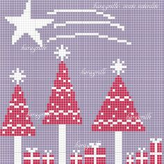 free- noël de Louise Christmas Afghan, Noel Christmas, Christmas And New Year, Cross Stitch Tree, Cross Stitch Embroidery, Cross Stitch Patterns, Theme Noel, Xmas Cards, Needlepoint