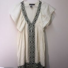 "Antik Batik Cotton Dress Sz XS Size XS cotton dress by Antiknock Batik. 100% cotton. Accent beads and grey print along neckline. Neckline 9"" at ""V"". 35"" length. Antik Batik Dresses Mini"