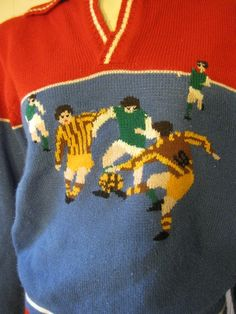 A darling acrylic knit sweater, this is by Collage Man and will fit a size medium women's, size small for men. Has great colors and cool design with soccer players on the front. Soccer Theme, Football Fashion, Soccer Players, Pullover Sweaters, Cool Designs, Knitting, Medium, Sleeves, Color