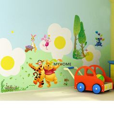 Aliexpress.com : Buy Winnie the Pooh and Happy Animals in Natural World, Cartoon Wall Decor Stickers Decals for Nursery Kids Bedroom,…