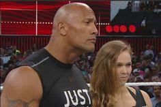 "Dwayne ""The Rock"" Johnson & Ronda Rousey Ronda Rousey Wwe, Ronda Jean Rousey, The Rock Dwayne Johnson, Dwayne The Rock, Rock Johnson, Mma, Ronda Rousy, Ronda Rousey Wallpaper, Fighter Workout"