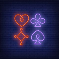Four playing card suit symbols neon sign Free Vector Free Banner, Card Tattoo, Iphone Design, Pop Culture Art, Iphone Icon, Vector Photo, Free Logo, Love Symbols, Retro