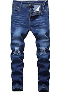Boys Skinny Fit Ripped Destroyed Distressed Stretch Slim Jeans Pants