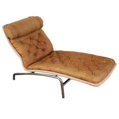 Arne Vodder; Leather and Tubular Aluminum Chaise Longue for Erik Jorgensen Mobilfabrik, 1960s.