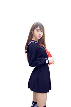 I-MARTWomen's Sailor Suit Cosplay Costume Navy 4 Pcs Jacket/Skirt/Ribbon Tie/Socks (M) #Sailor Halloween Costumes Sailor Halloween Costumes, One Piece Cosplay, California Costumes, Cosplay Costumes, Dresses For Work, Suits, Churchill, Lady, Anna