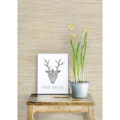 "Brewster Home Fashions Ami Faux Grasscloth 33' x 20.5"" Geometric Wallpaper"