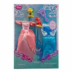 Disney Princess Ariel Doll Wardrobe and Friends Set -- 5-Pc. by Disney. $19.86. Part of the Disney Princess Classic Doll Collection. Polyester/plastic. Includes: Blue dress, Pink dress, Sebastian - 2'' H, Flounder - 2'' H, Hairbrush - 3'' L. Made for 12'' Classic Disney Princess Aurora Doll, sold separately. Ariel Classic Doll Wardrobe and Friends 5 Piece Set. Dress your Ariel Doll (sold separately) in either of the two outfits in our Ariel Accessory Set and she'...