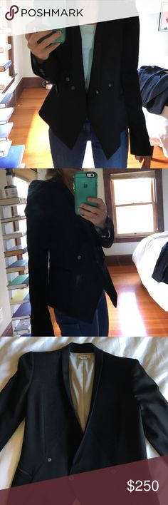 Helmut Lang women's double breasted tuxedo jacket Black Helmut Lang cropped double breasted tuxedo jacket. Size 2. Helmut Lang Jackets & Coats Blazers