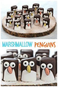 These easy marshmallow penguins make great party food treats and are a cute Christmas food idea for kids - with video tutorial and full instructions marshmallow christmas Best Christmas Recipes, Christmas Party Food, Christmas Desserts, Christmas Treats, Christmas Baking, Christmas Fun, Christmas Goodies, Cute Food, Good Food