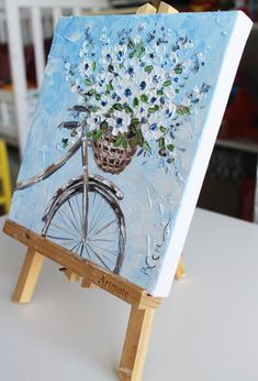Floral oil painting framed original, basket with flowers on the bike, Oil painting flower, mini floral painting, Bouquet painting Cute Canvas Paintings, Mini Canvas Art, Modern Art Paintings, Abstract Canvas Art, Oil Painting Abstract, Acrylic Painting Canvas, Indian Paintings, Oil Paintings, Painting Art