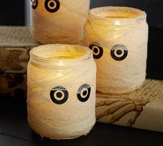 You could do this!!!!  Gauze Mummy Luminary   Pottery Barn