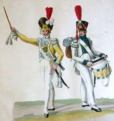 Sachsen : Tambourmajor der Leib-Grenadier-Garde und Tambour vom Infanterie-Regiment Prinz Friedrich
