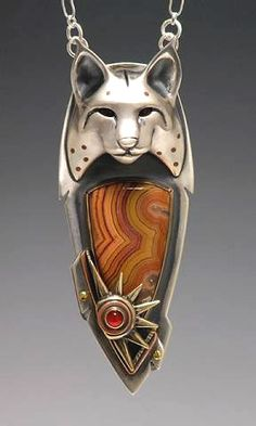 Pendant - Brooke Stone.   Silver, bronze, copper, Dryhead Agate, Carnelian. Wowza