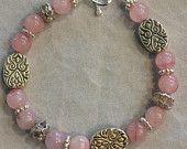 Rose Quartz, Swarovski Crystal, and Silver Bracelet