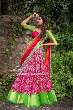 Half Saree Designs, Silk Saree Blouse Designs, Lehenga Designs, Indian Designer Outfits, Designer Dresses, Indian Gown Design, Pink Half Sarees, Gown Party Wear, Half Saree Lehenga