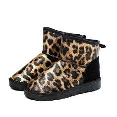Ponrami Women's Vintage Leopard Print Leather Snow Boots ** You can find more details by visiting the image link.