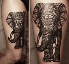 """...feels like an elephant shaking his big grey trunk for the hell of it..."" Elephant tattoo in patterns."