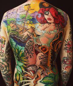 Pirate Girl New School tattoo