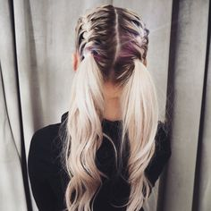 Half Plait Pig-Tails #braids #plaits #blonde #hair #girl #hairstyles #toner #ideas #ponytail #festival #summer #holiday