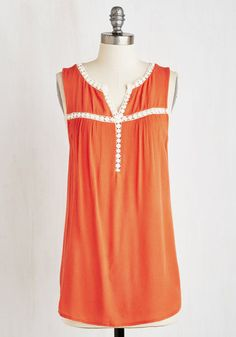 Sunroof Salutation Top. Gladly receive an extra splash of warmth and brilliance from above as you foray into a cross-country adventure wearing this tangerine top! #orange #modcloth