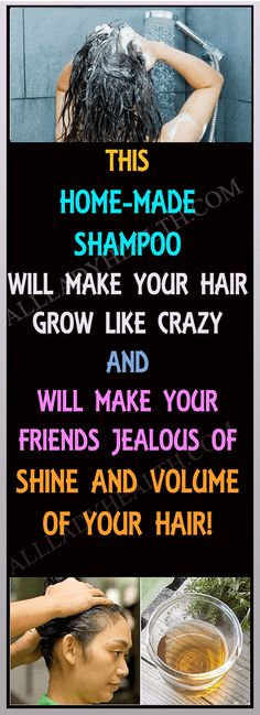 Ladies, This HOMEMADE Shampoo Will Make Your Hair Grow Like Crazy (All Your Friends Will Be Jealous of Your Shine and Volume!) #hair #care #beauty #shampo #home #homemade #natural #remedies