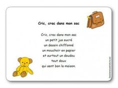 Comptine Cric crac dans mon sac French Classroom, Petite Section, Check It Out, Back To School, Chant, Teacher, Album, Activities, Kids