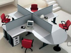 Office Space Organizing Is One Of The Keys To A Successful Business : Cool Shared Workstation For Open Plan Office Space Organizing For 4 Person Design