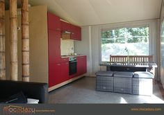 The kitchen of our Luxury Bamboo Tent at Beringerzand