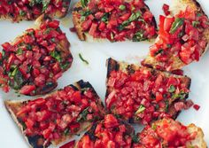 Substitute whole wheat bread to make this Tomato Crostini Ballet Beautiful style! via bonappetit.com