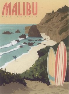 Malibu, California, Surf's Up! Travel Poster Style Modern Postcard Malibu, California, Surf's Up! Travel Poster Style Modern Postcard by markopostcards on Etsy Collage Mural, Bedroom Wall Collage, Photo Wall Collage, Picture Wall, Wall Art, Poster Collage, Poster Surf, Poster Retro, Gig Poster