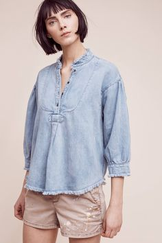 Slide View: 1: Frayed Chambray Henley