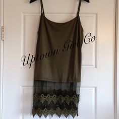 New Top Extender Shirt extender army green. This is a Cami tank with lace added. Comes in 5 sizes. Uptown Girl Co Tops Camisoles