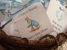 Peter Rabbit w Carrot Baby Shower Party Tea Favors Boy Baby Sprinkle Beatrix Potter