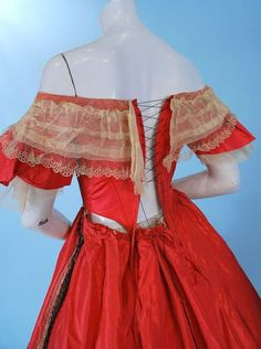 Robe a transformation in coral silk; ca. mid-1860s | In the Swan's Shadow