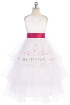 55a9af3bd62 White Hot Pink Sleeveless Satin  amp  Organza Layered Flower Girls Dress  with Color Sash