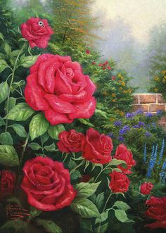 Thomas Kinkade A Perfect Red Rose painting is available for sale; this Thomas Kinkade A Perfect Red Rose art Painting is at a discount of off. Art Floral, Thomas Kinkade Art, Kinkade Paintings, Art Thomas, Beautiful Paintings, Rose Paintings, Amazing Artwork, Paintings Famous, Painting Flowers