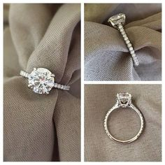 The simple beauty of an oval diamond mounted upon a pave band is given a new spin with this Oval Pave Engagement Ring. From the top it looks like a simple diamond accented engagement ring set with an oval diamond, but from the side you can see that some borrowed aesthetics from halo engagement rings are incorporated in