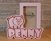 Personalized pig picture frame for kids, by name, color and theme.  50+ designs at  WoodpeckerWoodShop on Etsy