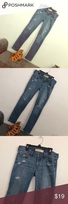 Abercrombie & Fitch distressed jeans size 27x35 Very nice jeans Used but excellent condition  27x35 Please check my closet for more jeans, tops, dresses, shoes Abercrombie & Fitch Jeans Skinny
